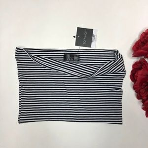 NWT Top Shop Black And White Tube Top US 6
